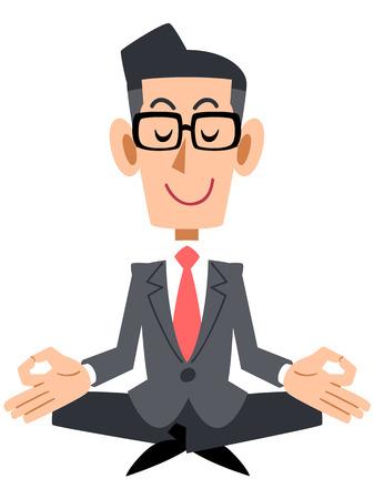 Businessman with coat and glasses meditating  Illustration