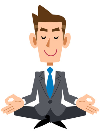 satirical: Businessman meditating