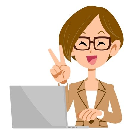 woman computer: V sign glasses businessman woman with laptop
