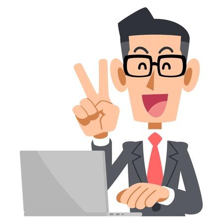V sign glasses and laptop Illustration