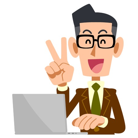 satirical: Men V sign to wear glasses wearing a brown jacket and laptop computer Illustration