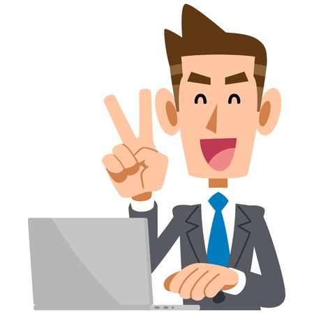 satirical: V sign to businessmen with laptops Illustration