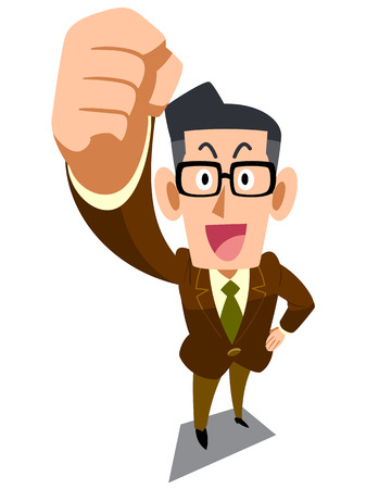 satirical: Buinessman in glasses raises a fist   Illustration