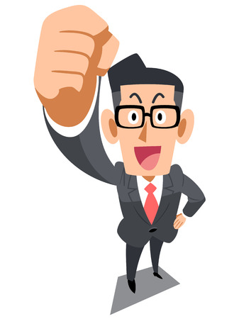 Buinessman in glasses raises a fist   Illustration