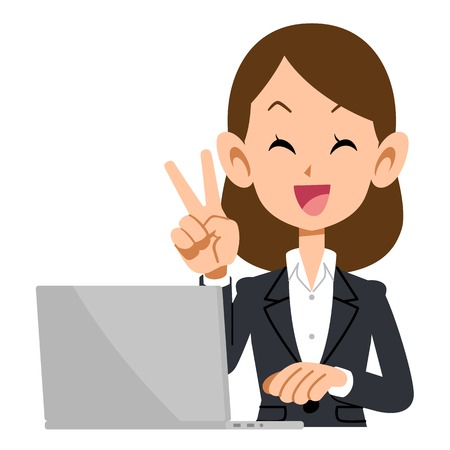 ap: V sign business man woman with laptop