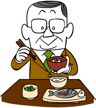 satirical: Eat Japanese food, businessman Illustration
