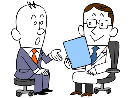 epidemiology: Male worker consulting a doctor