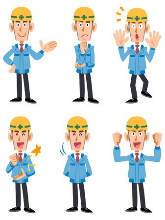 expresiones faciales: Trabajadores de la construcción 6 diferentes poses y expresiones faciales