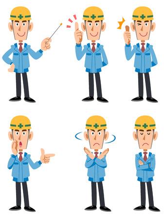 建設労働者 6 種類のポーズや顔の表情