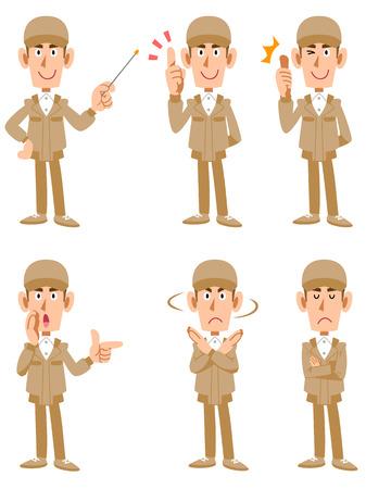 expresiones faciales: Trabajadores 6 diferentes poses y expresiones faciales Vectores