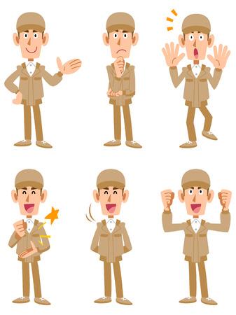 gezichts uitdrukkingen: Werknemers 6 verschillende poses en gezichtsuitdrukkingen