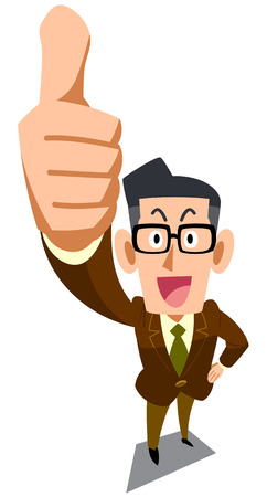 bespectacled man in brown jacket giving a thumbs up Illustration