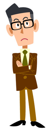 satirical: Thinking businessman, wearing a brown jacket and glasses