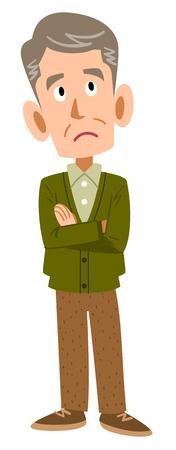 Preocupaciones hombre maduro Ilustración de vector