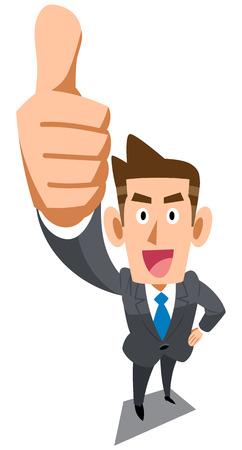 Een zakenman die een thumbs up Stockfoto - 43318339