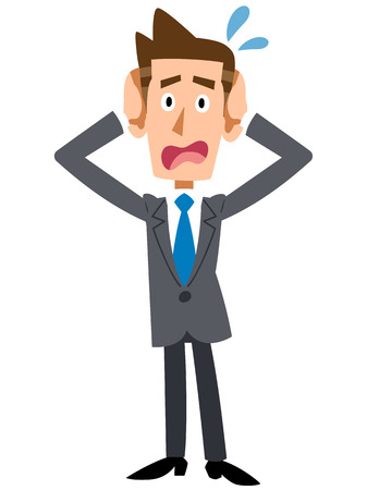 Businessman holding head Illustration