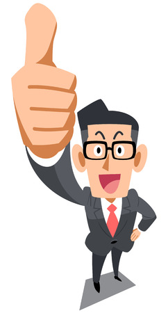 cut up: Businessman giving a thumbs up