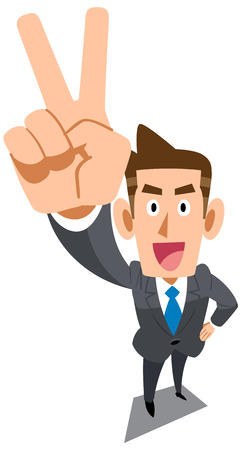 salaried: Businessman showing the peace sign Illustration