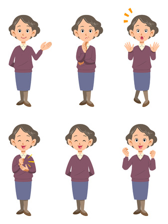 Elderly woman 6 poses Illustration