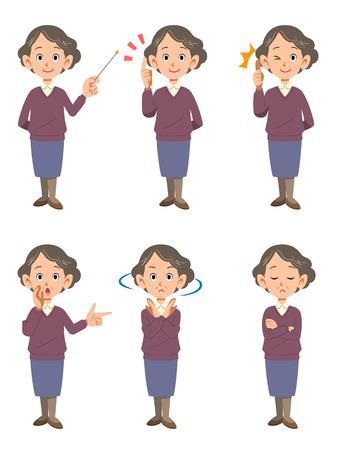 ap: Elderly woman 6 poses Illustration