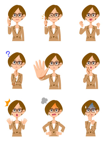 Gesture of working woman 9 different glasses, short hair and facial expression Stock Illustratie