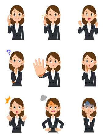 facial expression: Working woman 9 kinds gesture and facial expression Illustration