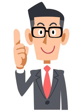 Businessman raised his index finger glasses 일러스트