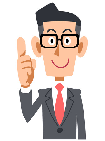 Businessman raised his index finger glasses 矢量图像