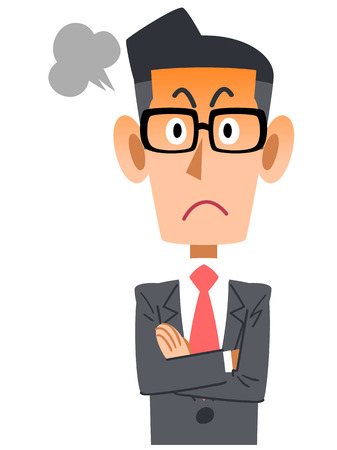 angry businessman: Businessman with glasses gets angry Illustration