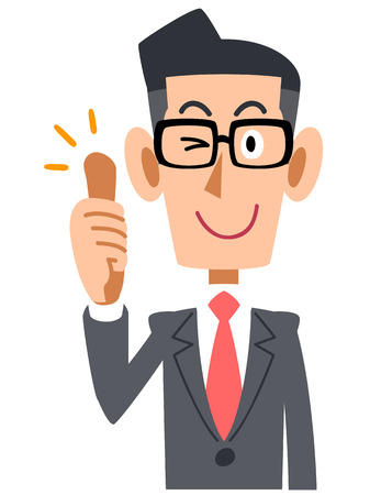 facial gestures: Businessmen, Office workers, salaried, goodjob, thumb up, suit, business, company, Office, work, job, man, young, upper body, bright, praise, rating, good, thumbs, fingers, so, good hand sign, pose, facial gestures, gesture promotional