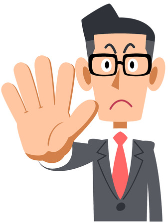 To stop the bespectacled businessman  イラスト・ベクター素材