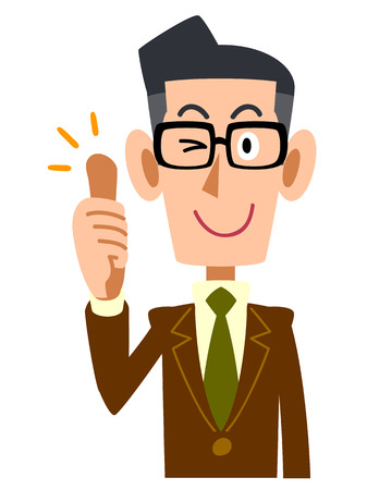 salaried worker: Samap jacket men glasses Illustration
