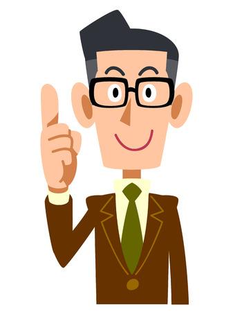 finger index: Men jacket Brown raised his index finger Illustration