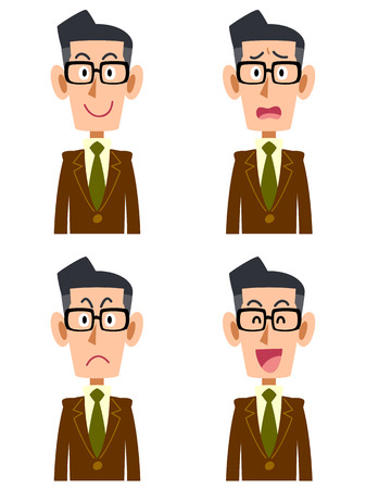 salaried worker: A man wearing a brown jacket and glasses facial