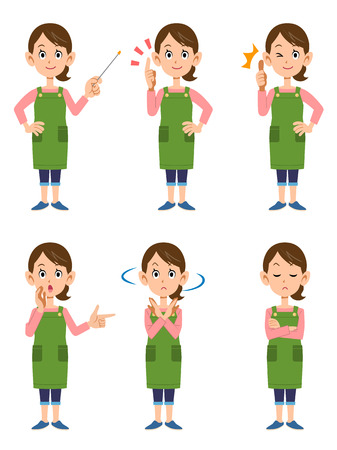 Women wearing aprons 6 posset Illustration