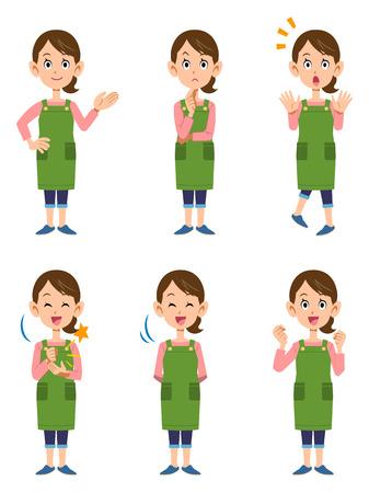 Women wearing aprons 6 posset Stock Illustratie