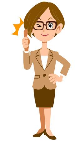 cuerpo femenino: Mujer SAMAP vestido con un traje y gafas