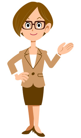 recommended: To introduce the woman wearing a suit and glasses