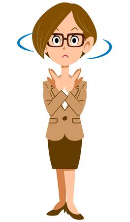 眼鏡と服を着た女性スーツ否定のジェスチャー