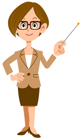 woman business suit: Women dressed in suits and wearing glasses with a pointing stick points Illustration