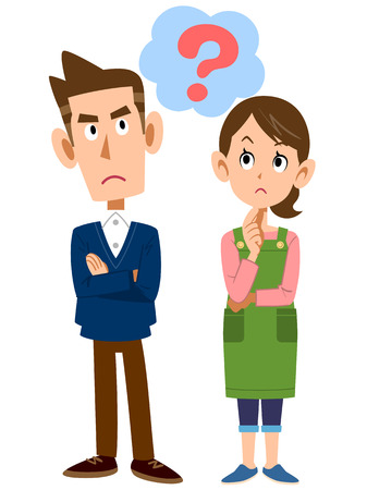 Young couples question Illustration