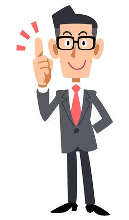 Bebrilde zakenman met een vinger te leggen