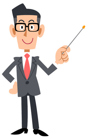 salaried worker: Bespectacled businessman has a pointing stick