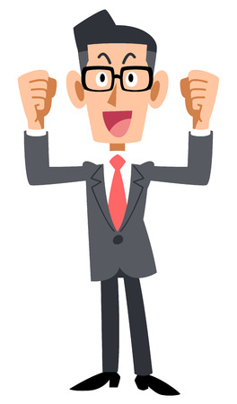 Excited businessman with glasses