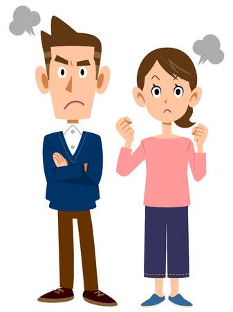 angry person: Hombres y mujeres se enojan Vectores
