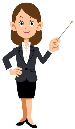 explaining: Women in suits have a pointer, explaining Illustration