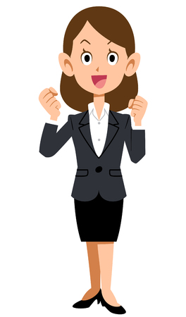 perky: Women dressed in suits to express enthusiasm with a smile