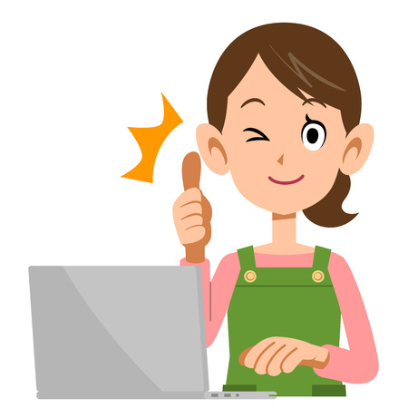 glad: Housewife to laptops and thumb Illustration