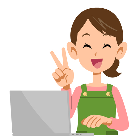 hand sign: Housewife showing the peace sign with your laptop