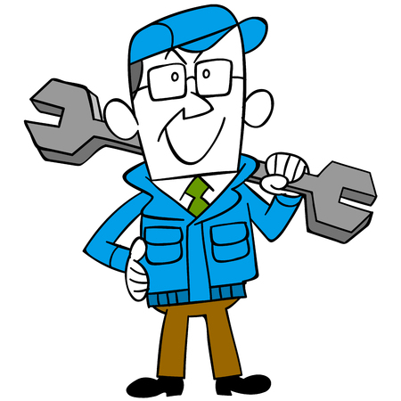workwear: Workers with a wrench Illustration